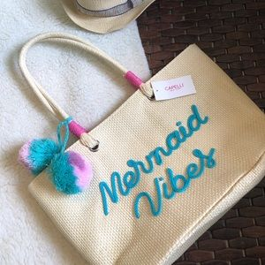 Mermaid Vibes straw beach bag